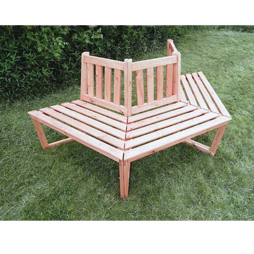 1/2 Baumbank 180° Sitztmöbel mit oder ohne Auflage Holz Gartenmöbel, Zubehör:Ohne Zubehör günstig kaufen
