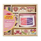 Melissa & Doug Wooden Stamp Set: Friendship (9 Stamps, 5 Colored Pencils, and 2-Color Stamp Pad, Great Gift for Girls and Boys - Best for 4, 5, 6 Year Olds and Up) (Color: Friendship, Tamaño: 1 Count)