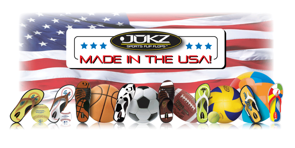 Jukz Shoes Athletic inspired Flip Flops and Slides with your favorite sports on them