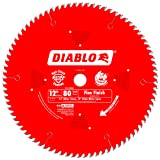 Freud D1280X Diablo 12-Inch 80 Tooth ATB Crosscutting Saw Blade with 1-Inch Arbor (Color: Red, Tamaño: 12