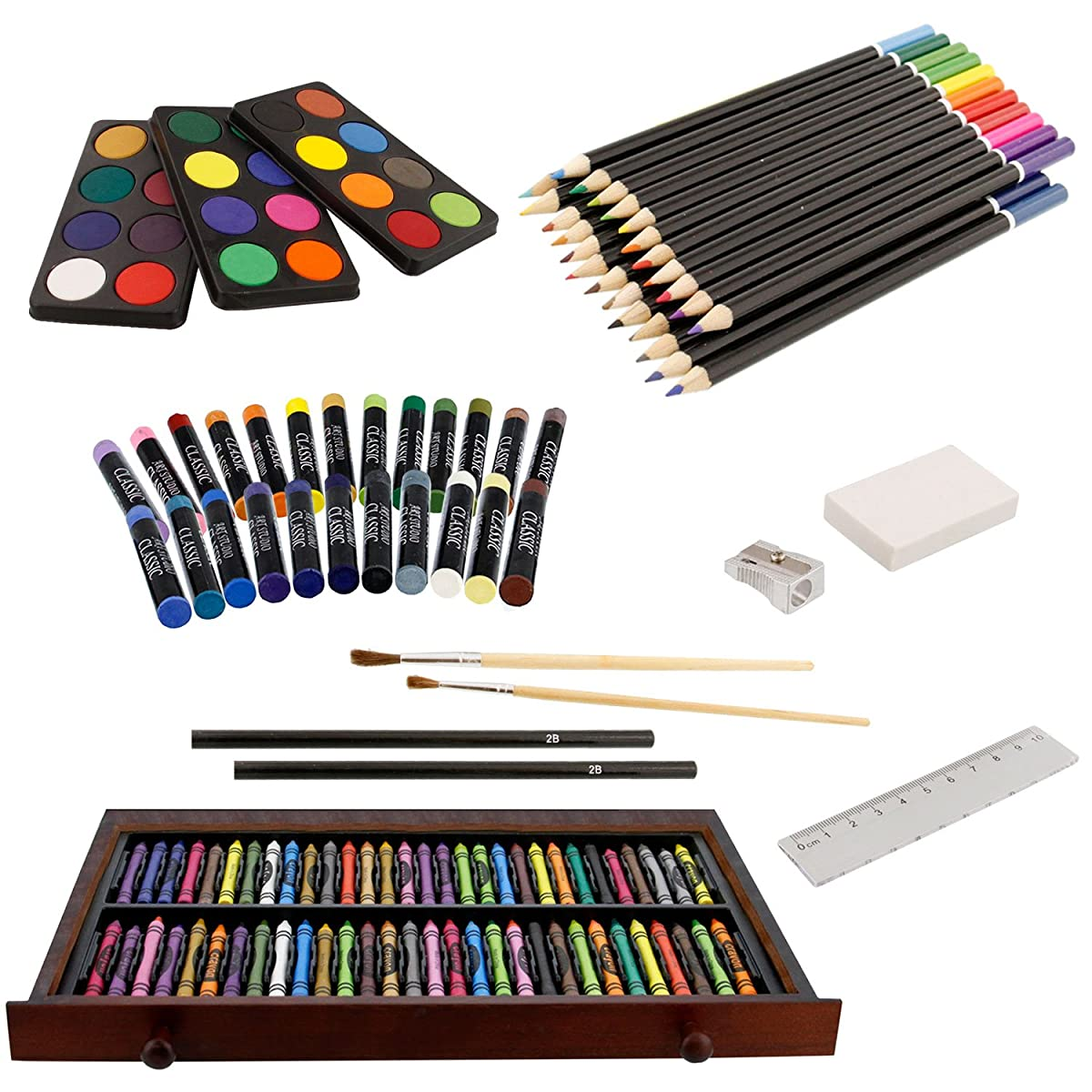 US Art Supply 142 Piece Mega Art Creativity Set in Wood Box Set, Wood Desk Easel and BONUS 20 additional pieces