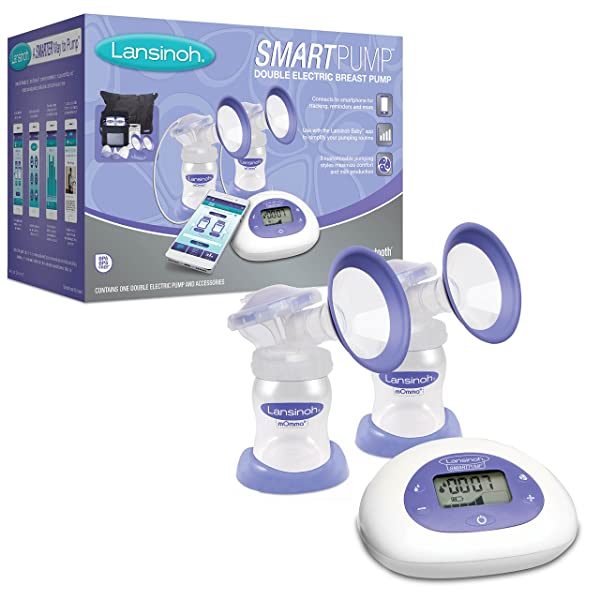 Lansinoh Smartpump Double Electric Breast Pump, Connects to Lansinoh Baby  App via Bluetooth, Breast Pump Bra ...