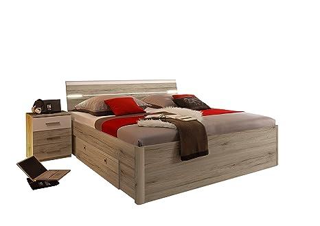 Stella Trading Mars Bett, Holz, eiche san remo hell / abs. weiß, 216 x 185 x 97 cm