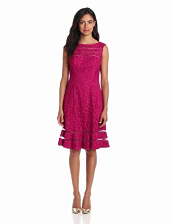 Adrianna Papell Women's Lace Skater Dress, Crushed Berry, 4