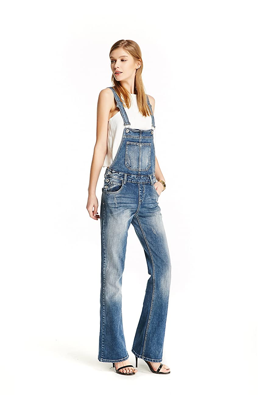 Track Seven Women's Relaxed Fitted Vintage Flare Denim Overalls Blue 4