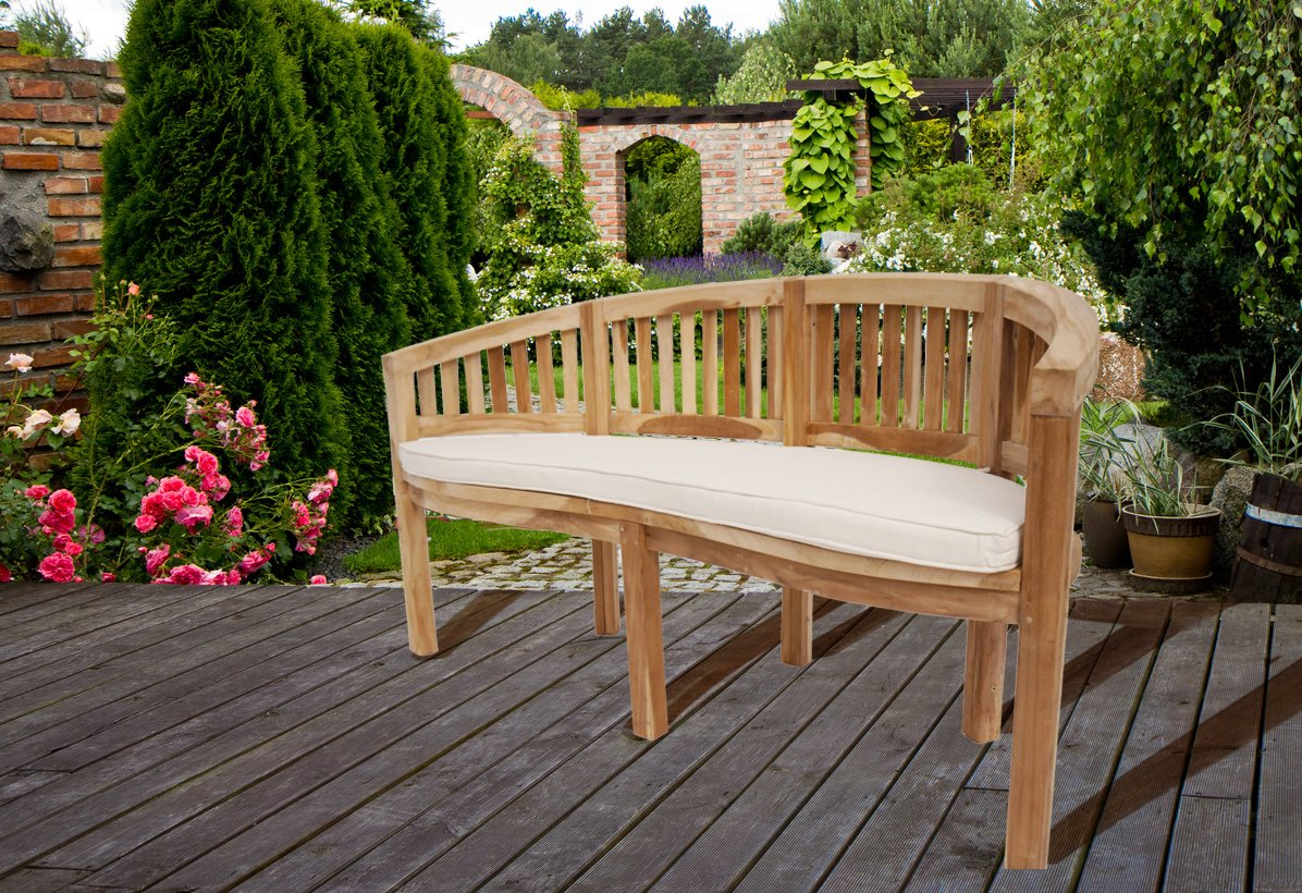SAM® Teak-Holz 3 Sitzer Bananenbank, Sitzbank, Gartenbank, 150 cm Banana, naturbelassene Holzbank, ideal für den Sommer