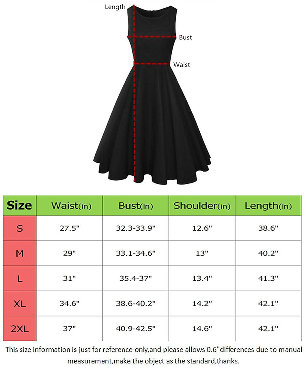 NINEWE Women's Classy Audrey Hepburn 1950s Vintage Rockabilly Swing Dress 3