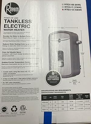 Rheem 240V Heating Chamber RTEX-13 Residential Tankless Water Heater