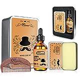 QQwow Beard Grooming & Care Kit for Mens, Elegant Mens Gift Set Includes Beard Oil 60ml,Beard Balm 2.82oz,Wooden Comb, Perfect for Mens,Birthday, Anniversay, Christmas Gift (Color: Beard Kit 1, Tamaño: Set 1)