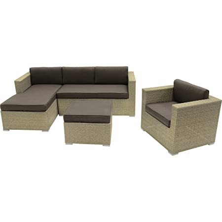 Loungeset Jazz Pebble Gartenmöbel Set 4-teilig 1 Stuhl Eckbank Hocker