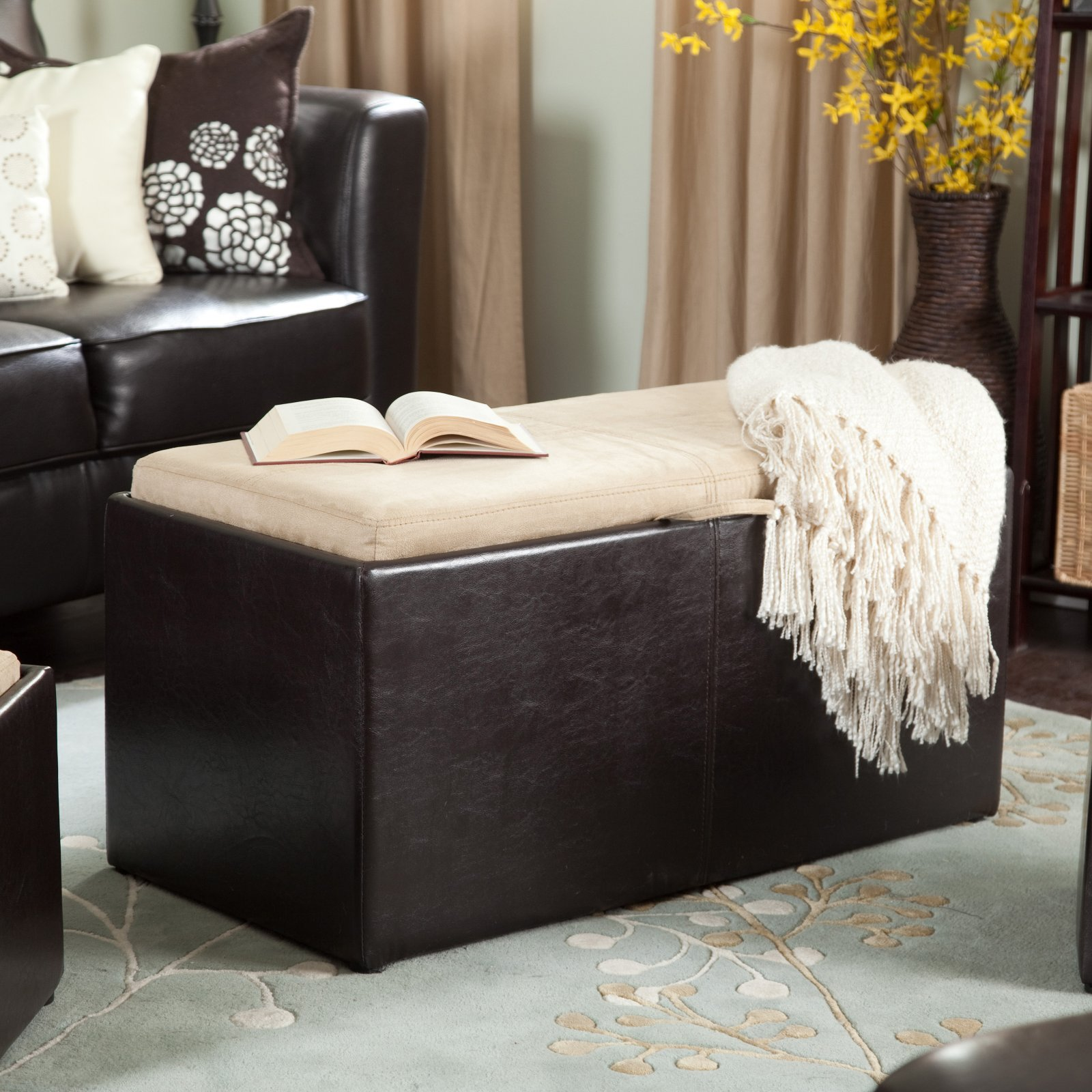 Nice Garrett Coffee Table Storage Ottoman With Tray U0026 Side Ottomans