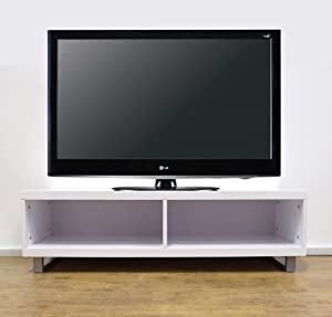 Stunning Rectangular Full Gloss White TV Entertainment Unit Stand With Storage       Customer reviews and more description