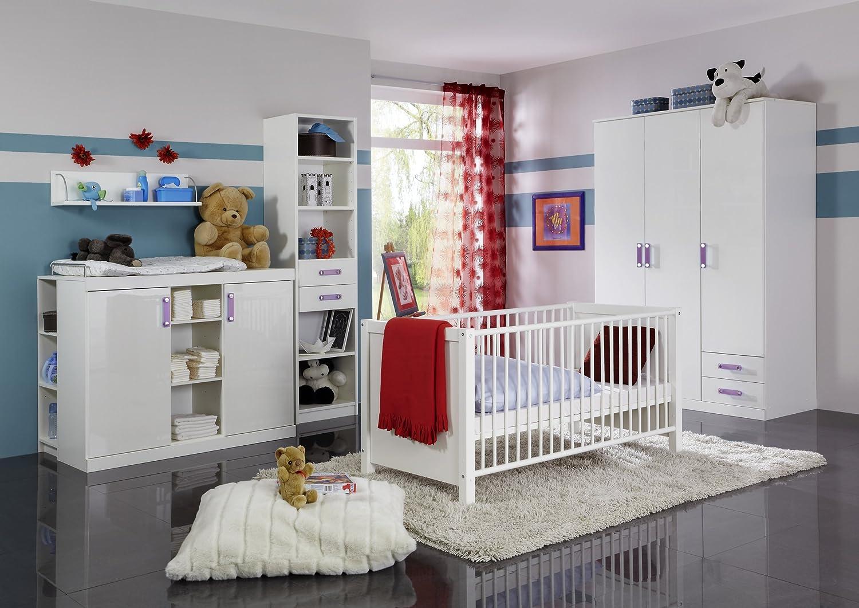 Babyzimmer mit Bett 70 x 140 cm alpinweiss hochglanz/ alpinweiss