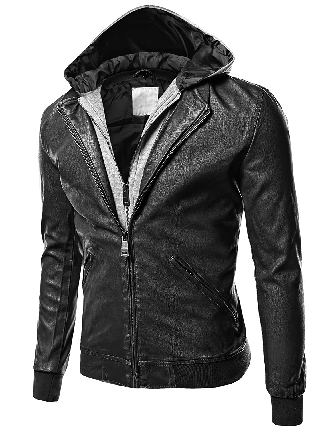 Wantdo Men's Fashion Faux Jackets Pu Leather Jackets With Removable Hood With Gift Youstar Men s Moto Racer Faux
