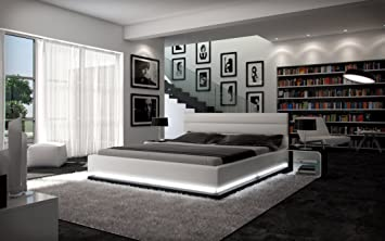 Polster-Bett 180x200 cm weiß aus Kunstleder mit LED-Beleuchtung am Fuß des Bettes | Inapir | Das Kunst-Leder-Bett ist ein edles Designer-Bett | Doppel-Bett 180 cm x 200 cm in Leder-Optik, Made in EU