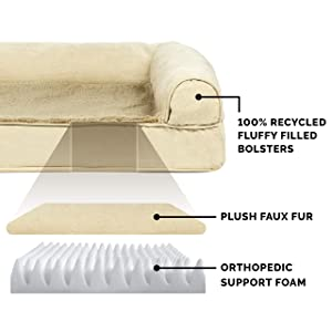 FurHaven Pet Dog Bed | Orthopedic Plush & Suede Sofa-Style Couch Pet Bed for Dogs & Cats, Clay, Small (Color: Clay, Tamaño: Small)