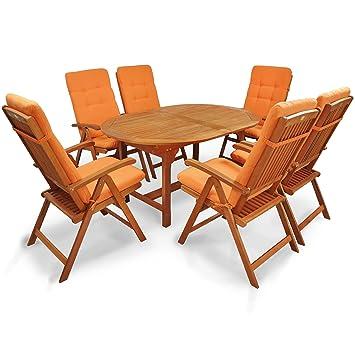 Indoba IND-70310-SSSE7 plus IND-70404-AUHL Serie Sun Shine Gartenmöbel Set, 13-teilig aus Holz, Eukalyptus/ Hellterra, 200x100x74 cm