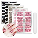 5 Sheets Full Nail Wraps Art Polish Stickers Decal Strips Adhesive False Nail Design Manicure Set With 1Pc Nail Buffers FilesFor Women Girls (Color: YMM-100)