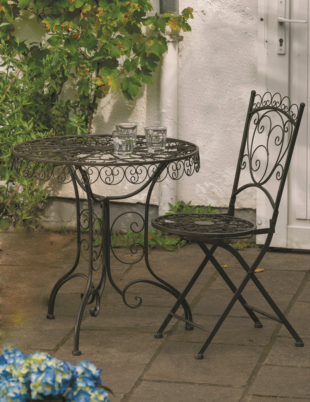 Tisch + 2 Stühle *Venice* Sitzgruppe Garnitur Gartenmöbel Metall antik-braun