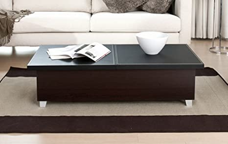 Furniture of America Leatherette Coffee Table with Storage, Black