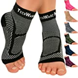 TechWare Pro Ankle Brace Compression Sleeve - Relieves Achilles Tendonitis, Joint Pain. Plantar Fasciitis Foot Sock with Arch Support Reduces Swelling & Heel Spur Pain. Injury Recovery for Sports (Color: Black, Tamaño: XXL (Women 11.0 + / Men 10.0 -13.0))
