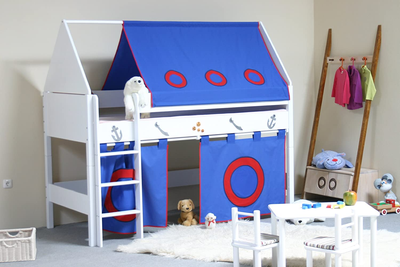 TAUBE Kinderbett Spielbett Pirat 124 cm (Ausführung: 90x200cm, weiß-lackiert, Ausstattung: mit Treppe) jetzt kaufen
