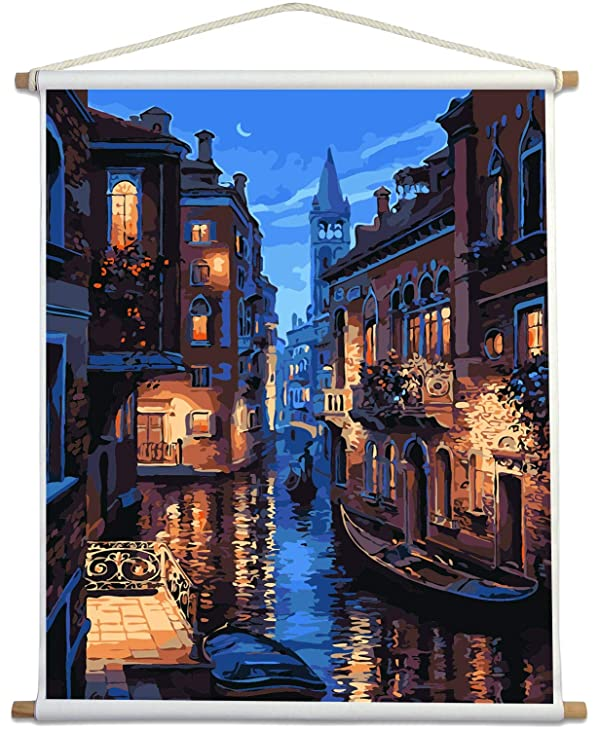 Paint by Numbers for Adults Kits with Wooden Stick The Giant Dimensions Plaid DIY Acrylic Oil Painting Kit for Adult Beginner on Canvas 16X20 Venice Evening (Tamaño: Wooden Stick)