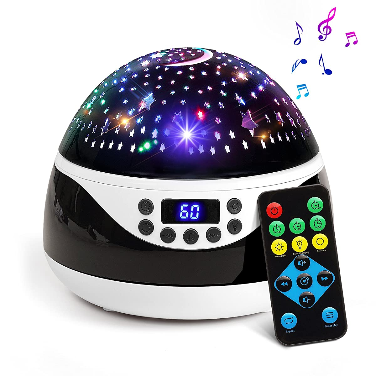 2018 NEWEST Baby Night Light, AnanBros Remote Control Star Projector with Timer Music Player, Rotating Constellation Night Light 9 Color Options, Best Night Lights for kids Adults and Nursery Decor