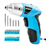 Electric Screwdriver, Hi-Spec DT30317B-US, Cordless Blue Tool with Rechargeable 4.8V Battery & LED Light. 26 Piece Accessories for Home DIY Screw-Driving & Fastening - Great Gift Idea (Color: 2)Pastel Blue)
