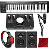 M-Audio Keystation 49 II MIDI Keyboard Controller with M-Audio M-Track 2X2M USB Audio Interface Deluxe Bundle
