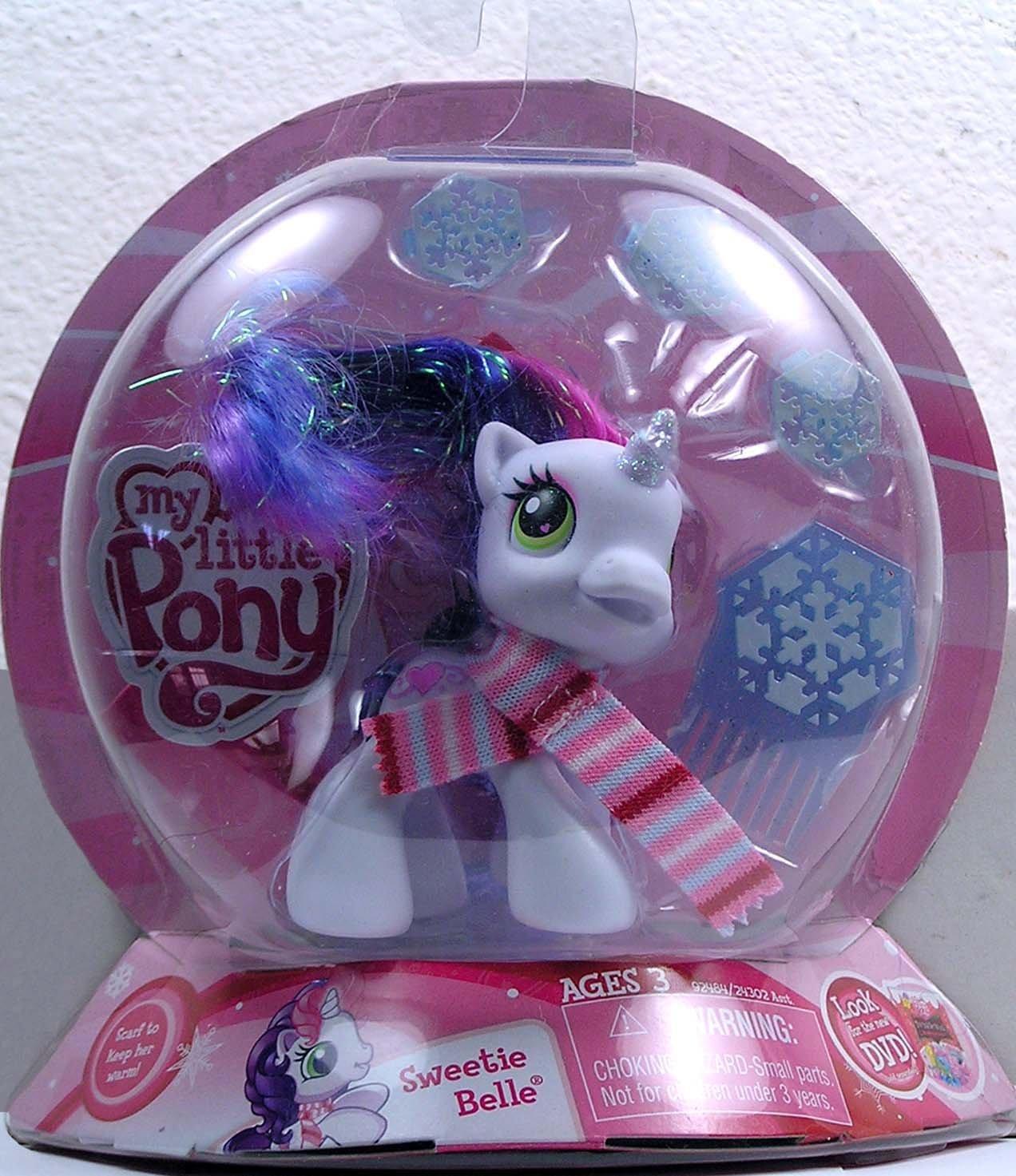 My little Pony – Winterzauber – Sweetie Belle – das weiße Einhorn mit Glitzer Mähne & Glitzer Horn & Eiskristall-Haarklemmen und -Kamm – OVP günstig