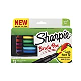 Sharpie Pen, Brush Tip, Assorted Colors, 12 Count + Soft Zip Case (Color: Assorted Colors, Tamaño: 12-Count)
