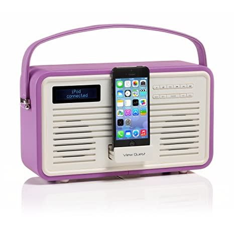 View Quest Retro DAB+ FM Radio 8-Pin iPhone Docking Station Radiant Orchid