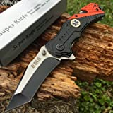 Snake Eye Tactical EMS EMT Rescue Style Assisted Opening Knife with Clip (Color: EMS)