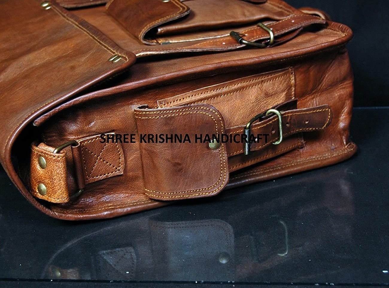 SKH Men's Genuine Vintage Brown Leather Messenger Shoulder Laptop Bag for Upto 15-Inch Laptop 4
