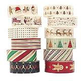 Christmas Washi Tape Set Gold 12 Rolls Decorative Duct Tape Holiday Christmas Craft Decorative Set Xmas 0.6