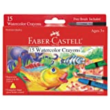 Faber-Castell Watercolor Crayons with Brush, 15 Colors - Premium Quality Art Supplies for Kids (Color: Assorted Colors)