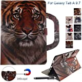 Galaxy Tab A 9.7 Case, Newshine Portable Type PU Leather Standing Cover Protective Folio Case with Card Slots for Samsung Galaxy Tab A 9.7 inch SM-T550 Tablet 2015 Release, Amur Tiger (Color: 1 Amur Tiger)