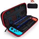 Hestia Goods Case for Nintendo Switch Hard Carry Case with 20 Game Cartridges - Protective Hard Shell Travel Carrying Case Pouch for Nintendo Switch Console & Accessories - Red (Color: Red)