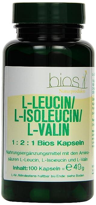 Bios L-Leucin/L-Isoleucin/L-Valin 1:2:1, 100 Kapseln, 1er Pack (1 x 49 g)