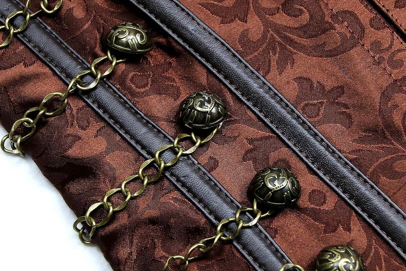Charmian Women's Steampunk Vintage Spiral Steel Boned Brocade Bustier Corset Top 4