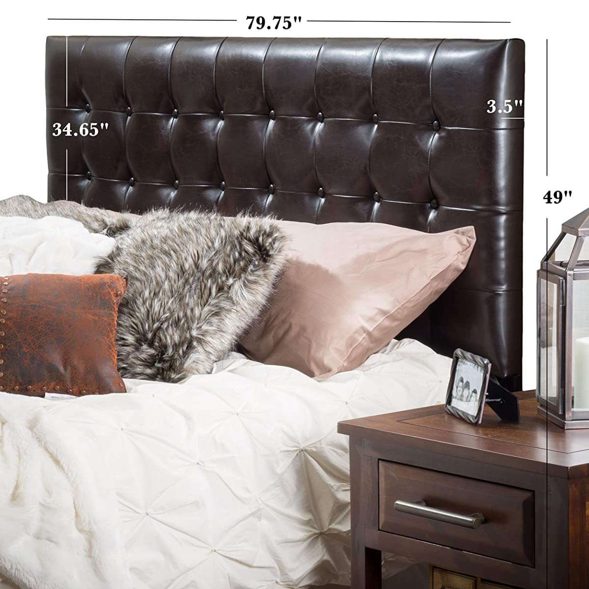 Great Deal Furniture Lansing King to Cal King Adjustable Brown Tufted Leather Headboard