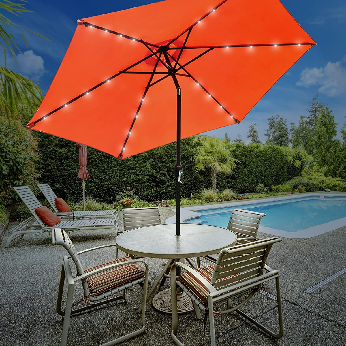 Sorbus LED Outdoor Umbrella, 10 ft Patio Umbrella LED Solar Power, with Tilt Adjustment and Crank Lift System, for Backyard, Patio, Deck, Always Close Umbrella When Not in Use (Solar LED - Orange)
