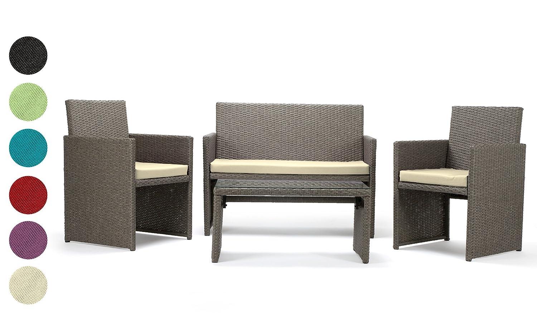 Rattan4Life Sitzgruppe Neapel, 4-teilig Deluxe Polyrattan Gartenmöbel Set, Sofa / Lounge / Gartengarnitur / Kissenbezüge, Rattan grau / braun, Bezug grün jetzt bestellen