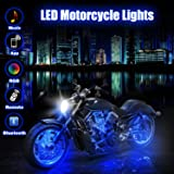 BLIIFUU 12PCS Motorcycle LED Lights with Bluetooth Wireless Remote Controllers, 18 RGB Colors Accent Glow Neon Atmosphere Lights Bar for Harley Davidson Suzuki BMW (Color: RGB strips 12pcs)
