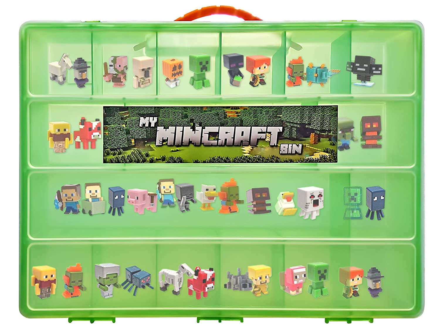 Minecraft Mini Figure Compatible Storage Case with Carrying Handle- My Mincraft Bin Carrying Case Holds 100