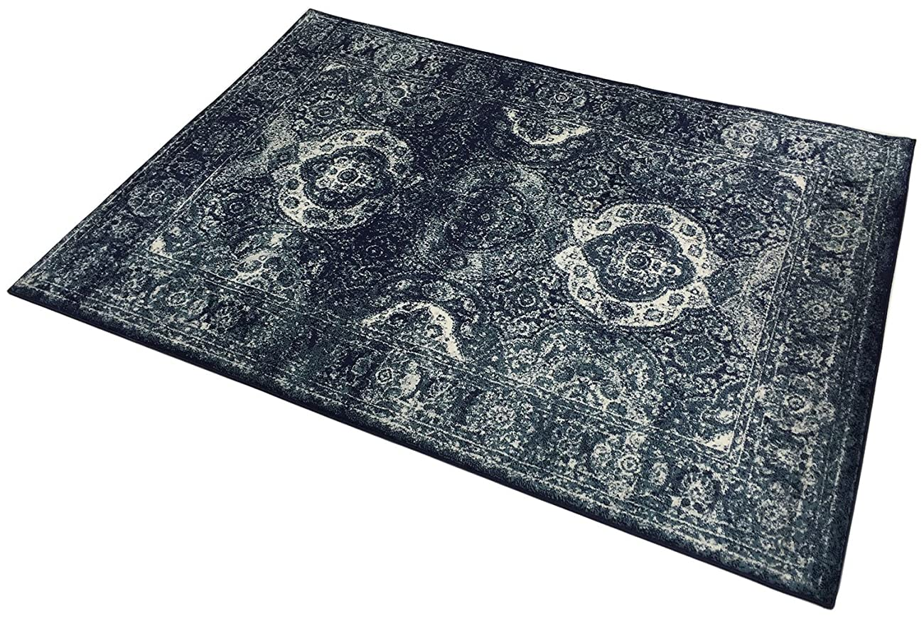 Studio Collection Vintage French Aubusson Design Contemporary Modern Area Rug Rugs 3 Different Color Options (Aubusson Navy Blue, 5 x 7) 2
