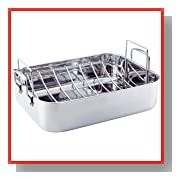 KitchenAid Gourmet Distinctions Stainless Steel 16-1/2-Inch Polished Roaster with Rack
