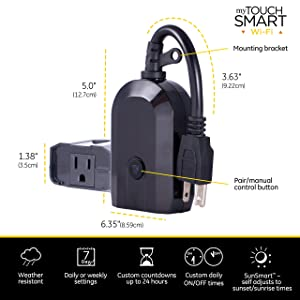 Enbrighten Works with Alexa WiFi Outdoor String Lights Kit: Vintage LED Color Changing Café Lights (48ft. 24 LED Bulb) + myTouchSmart WiFi Smart Plug, No Hub Required, Mobile and Voice Control, 45067 (Color: Black w/ Wifi Smart Plug, Tamaño: 48 ft.)