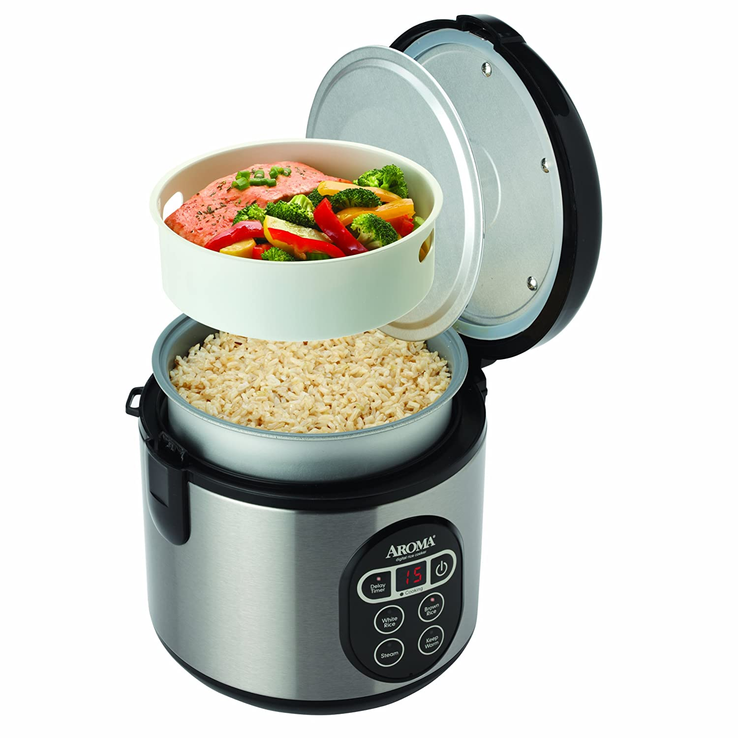 review aroma 8 cup rice cooker with digital delay timer